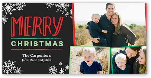 Merry Simple Flurry Christmas Card, Square Corners