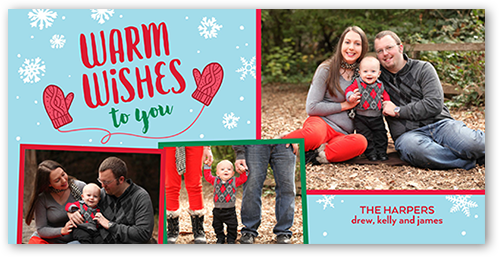 Warm Flurry Wishes Christmas Card, Square Corners