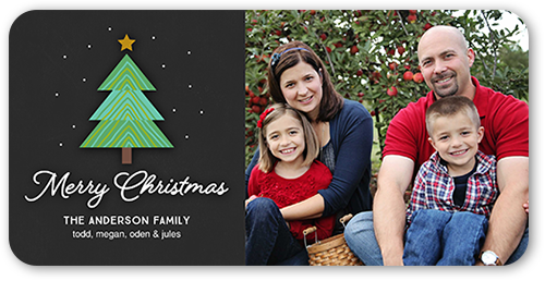 Basic Merry Tree Christmas Card, Rounded Corners