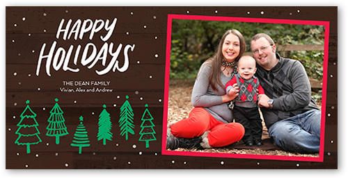 Snowfall Flurries Holiday Card, Square Corners