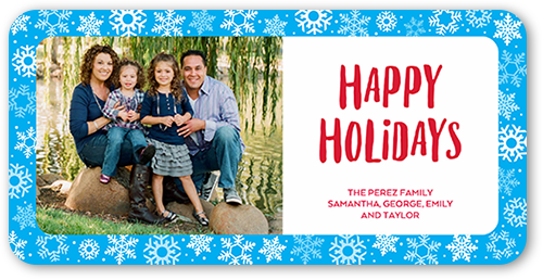 Simple Border Flurries Holiday Card, Rounded Corners