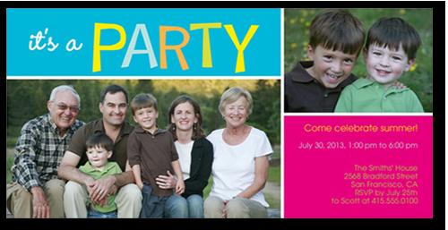Party Time Summer Invitation, Square Corners
