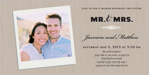 Woodgrain Frame Bridal Shower Invitation