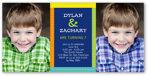 Colorfully Stitched Twin Birthday Invitation