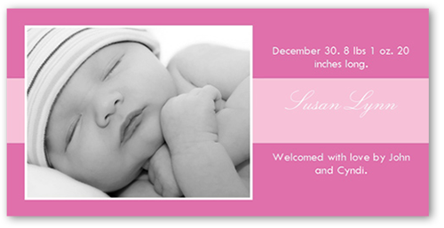 Cookie Rose Birth Announcement, Square Corners