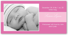 cookie rose birth announcement 4x8 photo