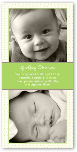 Swiss Dots Green Birth Announcement
