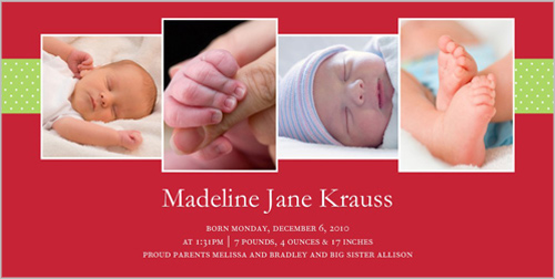 Perfect Holiday Gift Birth Announcement