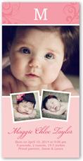 sweet scrolls girl birth announcement 4x8 photo