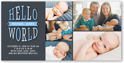 Hello Newborn Boy Birth Announcement