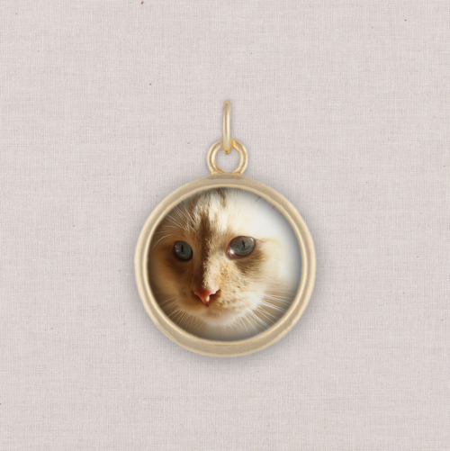 Gold Photo Charm, Circle, White