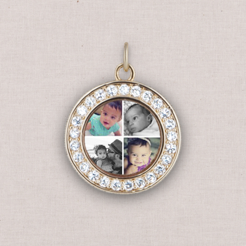 Gold Gallery of Four Photo Charm, Crystal Halo, White