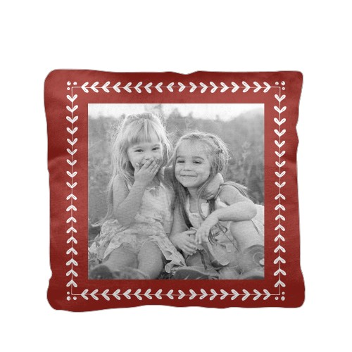 Mistletoe Frame Pillow, Cotton Weave, Pillow, 16 x 16, Double-sided, Red