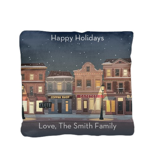 Holiday Street Pillow, Cotton Weave, Pillow (Ivory), 16 x 16, Single-sided, White