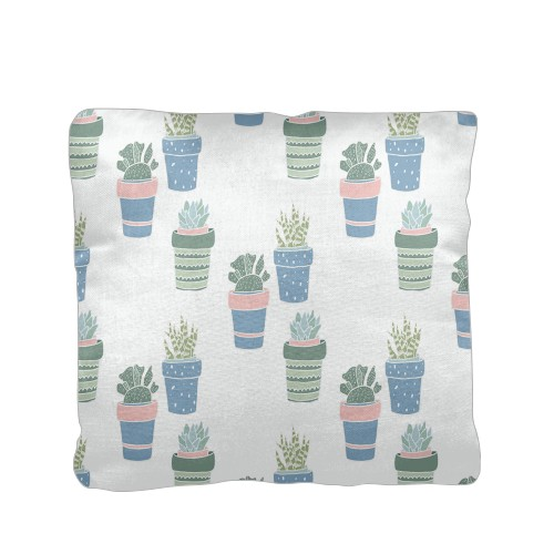 Multi Succulent Pillow, Cotton Weave, Pillow (Ivory), 16 x 16, Single-sided, White