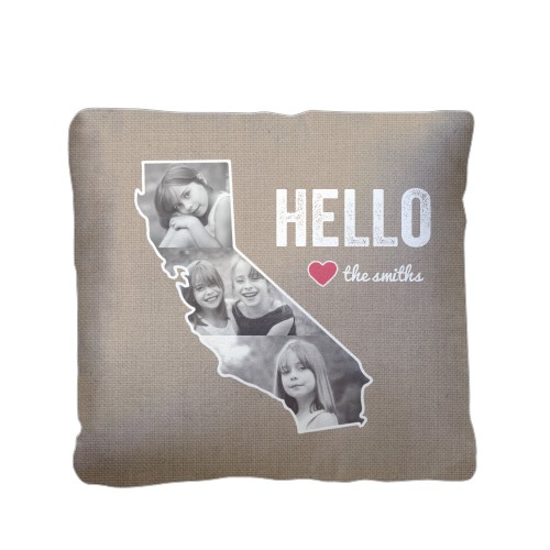 California Family Love Pillow, Sherpa, Pillow (Sherpa), 16 x 16, Single-sided, Brown