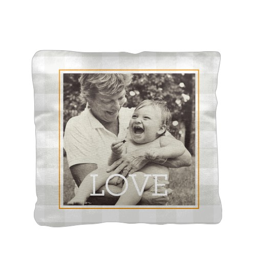 Plaid Love Pillow, Cotton Weave, Pillow, 16 x 16, Double-sided, Grey