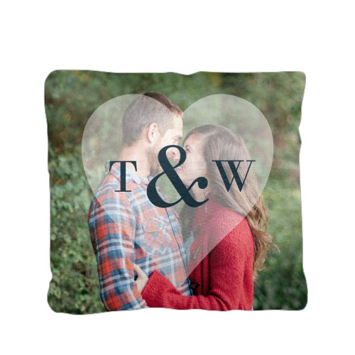 Heart Monogram Overlay Pillow