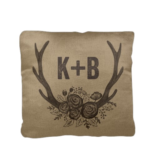 Floral Rustic Antler Pillow, Cotton Weave, Pillow (Ivory), 16 x 16, Single-sided, Brown