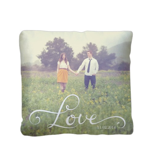 Hand-Lettered Love Pillow, Sherpa, Pillow (Sherpa), 16 x 16, Single-sided, White
