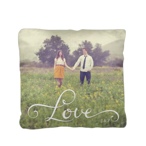 Hand-Lettered Love Pillow, Cotton Weave, Pillow (Black), 16 x 16, Single-sided, White