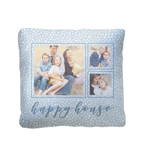 Happy House Pillow, Sherpa, Pillow (Sherpa), 16 x 16, Single-sided, Blue