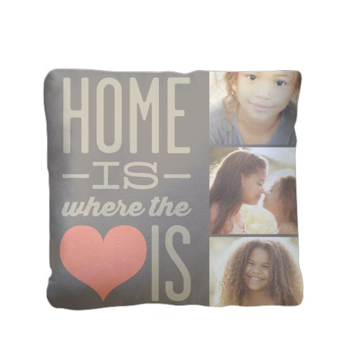 Home and Heart Pillow, Plush, Pillow (Plush), 16 x 16, Single-sided, Brown