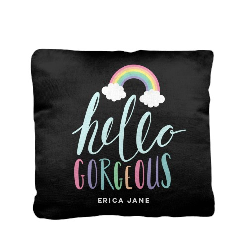 Emoji Rainbow Clouds Pillow, Cotton Weave, Pillow (Ivory), 16 x 16, Single-sided, Black