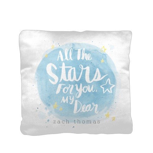 Moon And Stars For You Pillow, Cotton Weave, Pillow (Ivory), 16 x 16, Single-sided, Grey