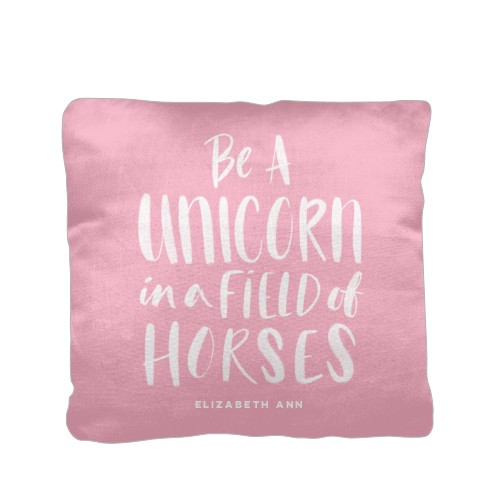 Princess Field Of Horses Pillow, Cotton Weave, Pillow, 16 x 16, Double-sided, Pink