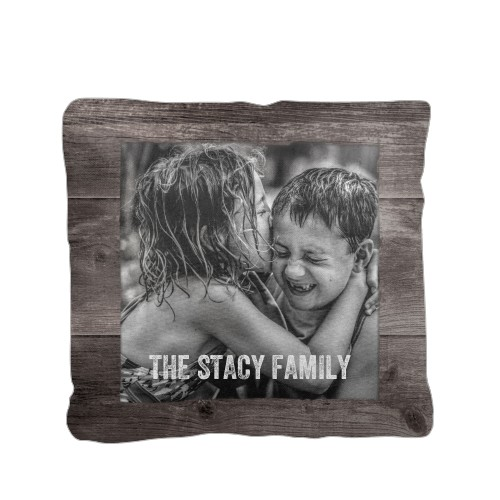 Weathered Wood Frame Pillow, Cotton Weave, Pillow (Black), 16 x 16, Single-sided, Brown