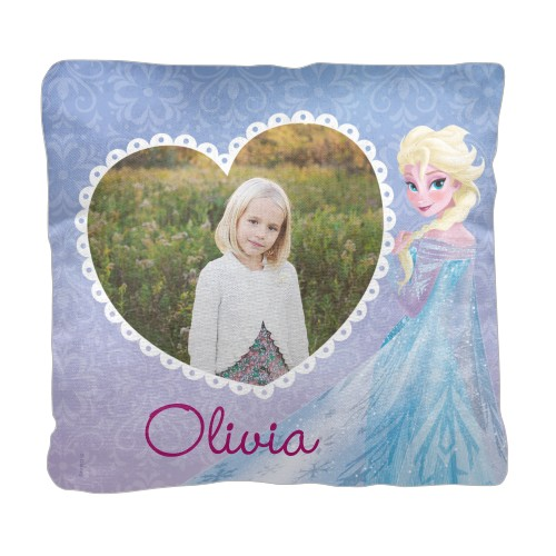 Disney Frozen Elsa Pillow, Cotton Weave, Pillow, 18 x 18, Double-sided, Purple