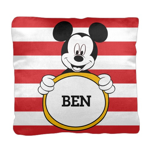 Disney Mickey Mouse Pillow, Cotton Weave, Pillow (Ivory), 18 x 18, Single-sided, Red