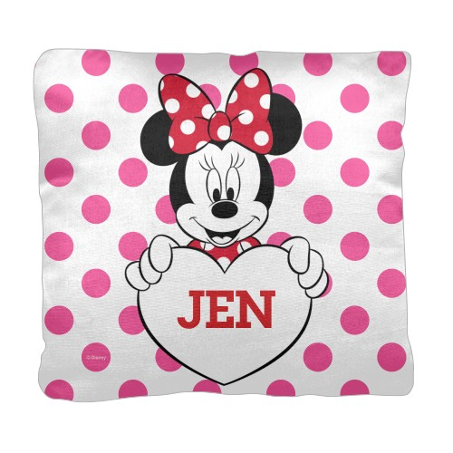 Disney Minnie Mouse Pillow, Cotton Weave, Pillow (Black), 18 x 18, Single-sided, Pink