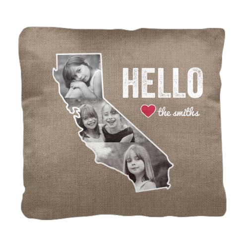California Family Love Pillow, Cotton Weave, Pillow (Ivory), 18 x 18, Single-sided, Brown