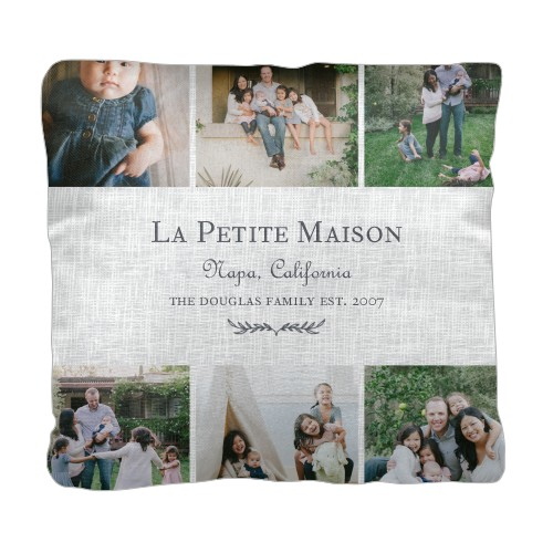 Parisian Elegance Pillow, Cotton Weave, Pillow (Black), 18 x 18, Single-sided, White