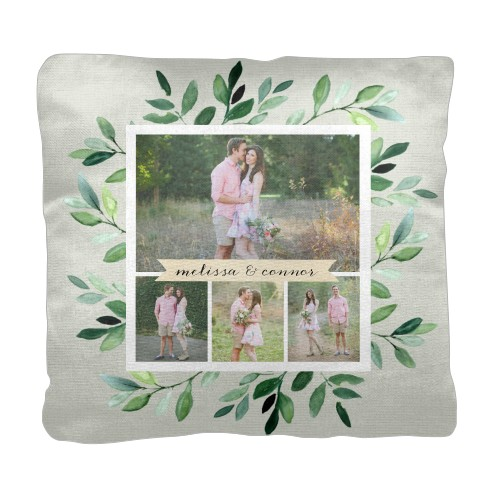 Foliage Collage Pillow, Cotton Weave, Pillow, 18 x 18, Double-sided, Green