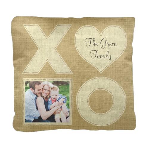 XOXO Burlap Pillow, Cotton Weave, Pillow (Black), 18 x 18, Single-sided, Beige