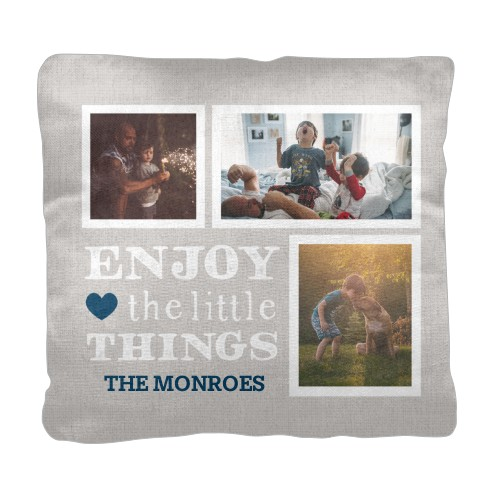 Enjoy Little Things Pillow, Cotton Weave, Pillow (Ivory), 18 x 18, Single-sided, Blue