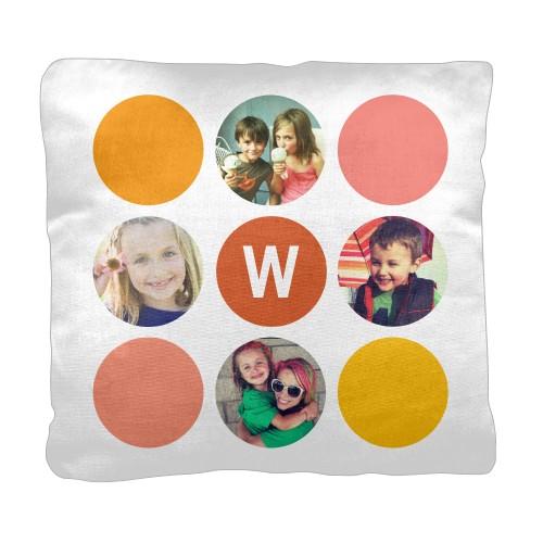 Color Dot Pillow, Cotton Weave, Pillow, 18 x 18, Double-sided, Orange