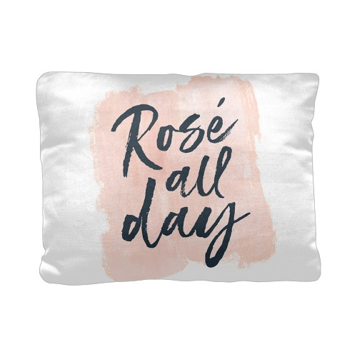 Rose All Day Pillow, Cotton Weave, Pillow, 12 x 16, Double-sided, White