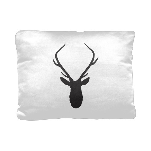 Deer Silhouette Pillow, Cotton Weave, Pillow (Black), 12 x 16, Single-sided, White