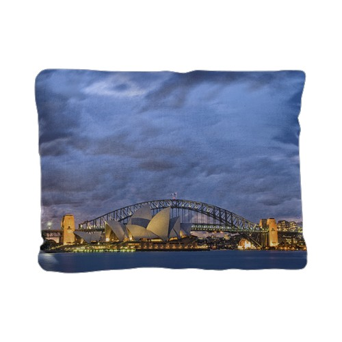 Sydney Harbour Twilight Pillow, Cotton Weave, Pillow (Black), 12 x 16, Single-sided, White