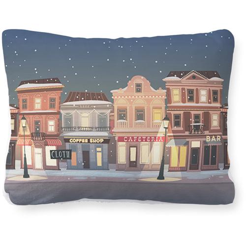Holiday Street Pillow, Plush, Pillow (Plush), 12 x 16, Single-sided, White