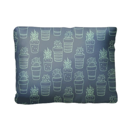 Outline Succulent Pillow, Sherpa, Pillow (Sherpa), 12 x 16, Single-sided, White