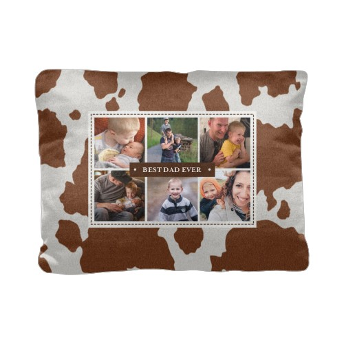 Printed Cowhide Pillow, Cotton Weave, Pillow, 12 x 16, Double-sided, Brown