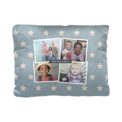 Star Collage Pillow, Cotton Weave, Pillow (Ivory), 12 x 16, Single-sided, Blue