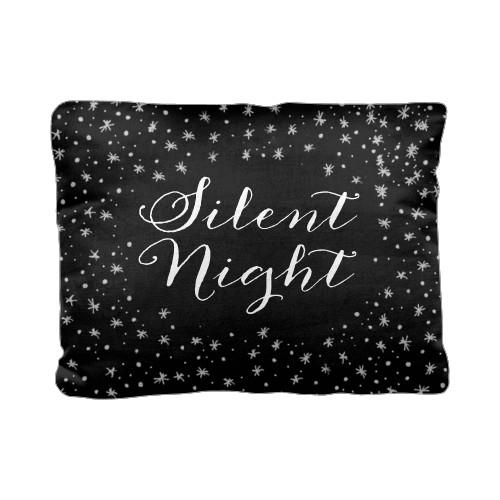 Snowflake Pillow, Cotton Weave, Pillow, 12 x 16, Double-sided, Black