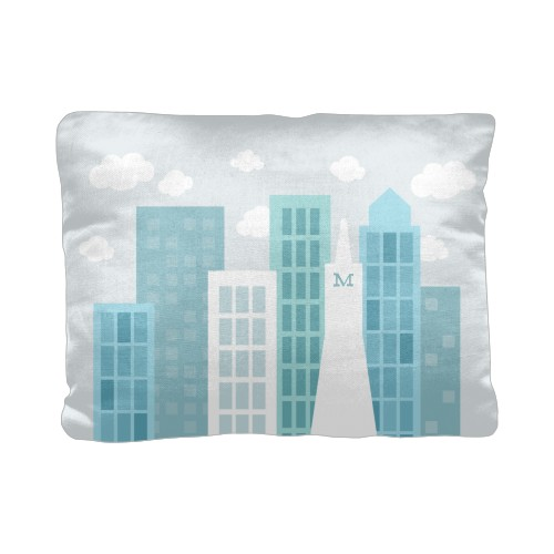 Transportation Skyline Pillow, Cotton Weave, Pillow (Ivory), 12 x 16, Single-sided, Blue