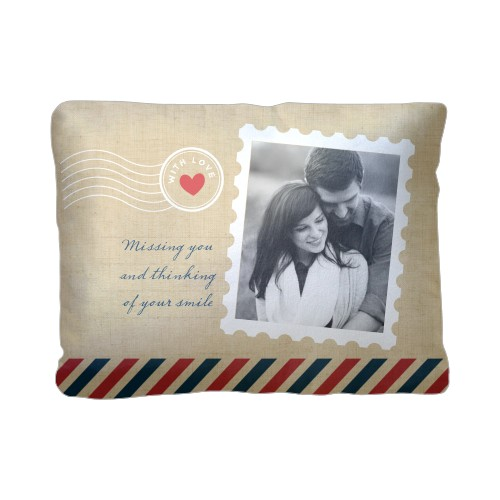 Stamped In Love Pillow, Sherpa, Pillow (Sherpa), 12 x 16, Single-sided, Beige
